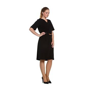 Nidya Moda Büyük Beden V Yaka Kemerli Elbise-4027AS