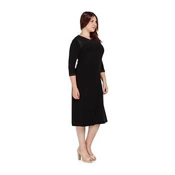 Nidya Moda Büyük Beden Roba Tül Elbise-4078BS