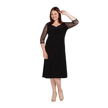 Nidya Moda Büyük Beden Kol Tül Kombin Elbise-4082S