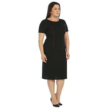 Nidya Moda Büyük Beden Biyesi Bordo Parçalý Krep Elbise-4085SB
