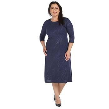 Nidya Moda Büyük Beden Kadýn Lacivert Sim Dalga Desen Elbise-4087L