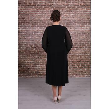 Nidya Moda Büyük Beden Kadýn Siyah Roba Tül Taþlý Motif Þifon Kol Sandy Elbise-4115AS