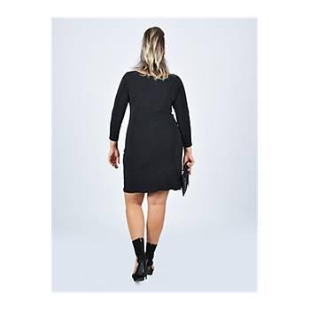 Nidya Moda Büyük Beden Düz Taþlý Siyah Elbise-4002S
