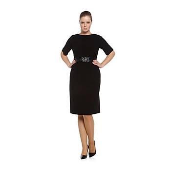 Nidya Moda Büyük Beden Pullu Payet Kemer Sýrt V Elbise-4020PS
