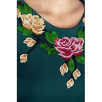 Nidya Moda Gül Aplik Yaka Örme Uzun Yeþil Abiye Elbise-4127Y