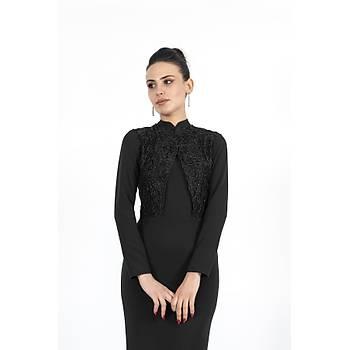 Nidya Moda Büyük Beden Kadýn Tesettür Siyah Balýk Uzun Abiye Elbise-4154S