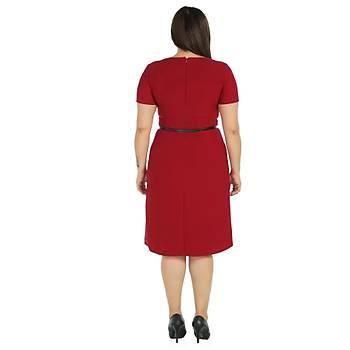 Nidya Moda Büyük Beden Çift Yýrtmaç Elbise-4086B
