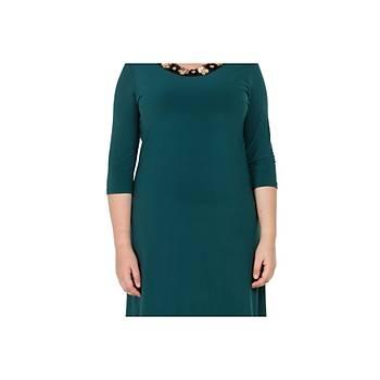 Nidya Moda Büyük Beden Kadýn Yeþil Çiçek Yaka Elbise-4076Y
