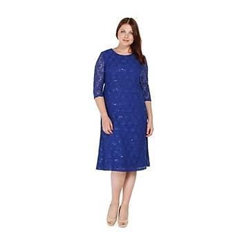 Nidya Moda Büyük Beden Gelincik Payetli Dantel Elbise-4077SX