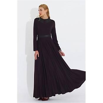 Nidya Moda Büyük Beden Yaka Kemer Derili Uzun Elbise-4041M