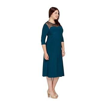 Nidya moda Büyük Beden Ayna Tül Kombin  Elbise-4078AP