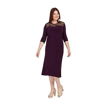 Nidya Moda Büyük Beden Ayna Tül Kombin Elbise-4078AM