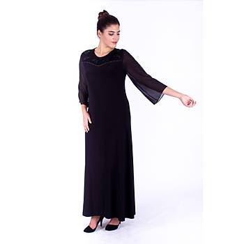 Nidya Moda Þifon Kol Roba Taþlý Motif Siyah Sandy Abiye Elbise-4115S