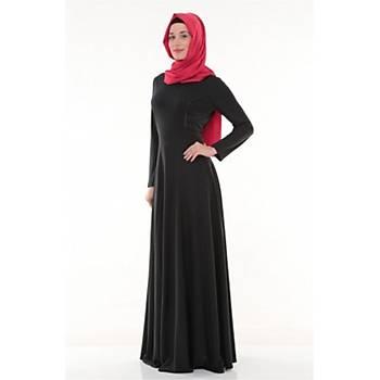 Nidya Moda Tesettür Kadýn Siyah Deri Biyeli Elbise-4042S