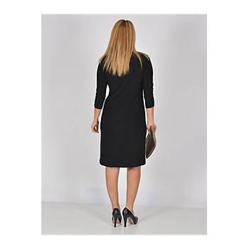 Nidya Moda Büyük Beden V Boncuk Yaka Taþlý Elbise-4039S