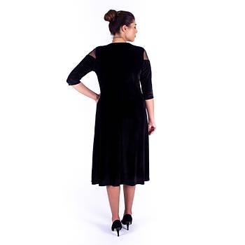 Nidya Moda Çiçek Motifli Tül Kombin Siyah Kadife Abiye Elbise-4123S