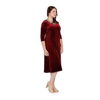 Nidya Moda Büyük Beden Gold Çiçek Yaka Elbise-4075B