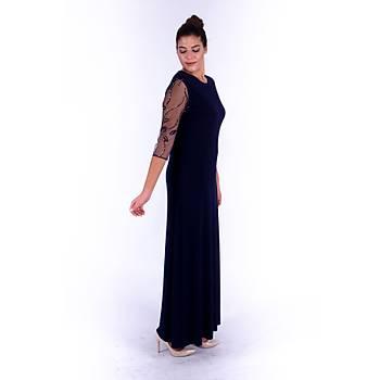 Nidya Moda Yapraklý Tül Kol Nakýþlý Lacivert Uzun Sandy Abiye Elbise-4116L
