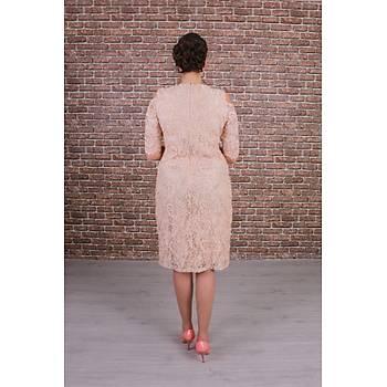 Nidya Moda Büyük Beden Kadýn Bej Omzu Pencereli Dantel Elbise-4146B