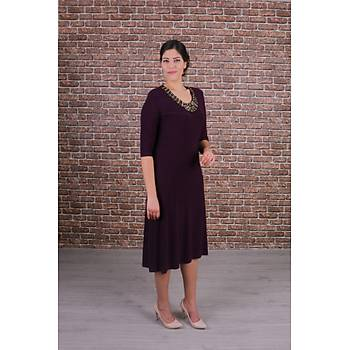 Nidya Moda Büyük Beden Renkli Taþlý Yaka Mürdüm Abiye Elbise-4148M