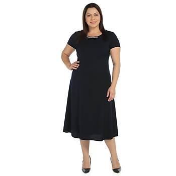 Nidya Moda Büyük Beden Sem Krep Elbise-4088L