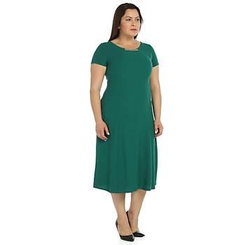 Nidya Moda Büyük Beden Elbise Sem Krep-4088Y