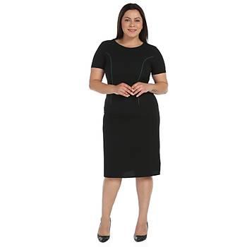 Nidya Moda Büyük Beden Parça Biyeli Elbise-4085SY