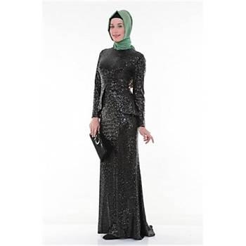 Nidya Moda Tesettür Pullu Payet Peplum Balýk Elbise-4047S