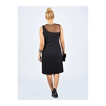 Nidya Moda Büyük Beden Tül Konbin Siyah Abiye Elbise-4011S