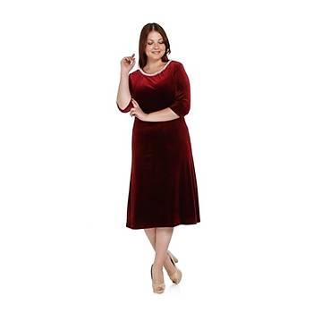 Nidya Moda Büyük Beden Pilili Ýnci Yaka Elbise-4074B