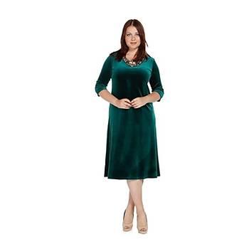 Nidya Moda Büyük Beden Dore Yaka Elbise-4075Y