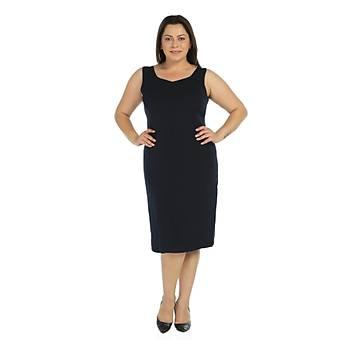 Nidya Moda Büyük Beden Krep Elbise-4065KL