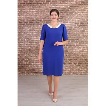 Nidya Moda Büyük Beden Kadýn Saks Yaka Ay Kombinli Abiye Elbise-4156SX