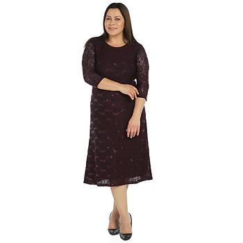 Nidya Moda Büyük Beden Payetli Gelincik Dantel Elbise-4077M