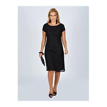 Nidya Moda Büyük Beden Siyah Dantel Vako Abiye Elbise-4035DS