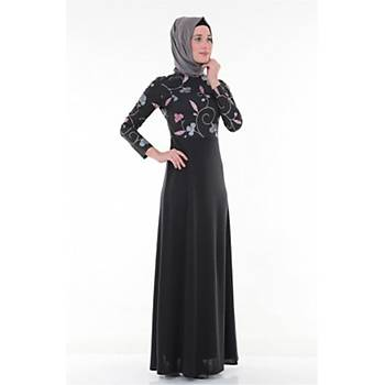Nidya Moda Tesettür Kadýn Siyah Üstü Çiçekli Elbise-4043ÇS
