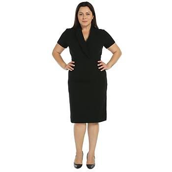 Nidya Moda Büyük Beden Kruvaze Yaka Krep Elbise-4098S