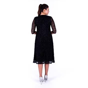 Nidya Moda Simli Kloþ Siyah Dantel Abiye Elbise-4036YS