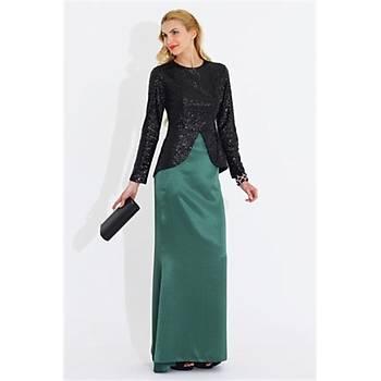 Nidya Moda Büyük Beden Peplum Pullu Payet Ceket-5010S