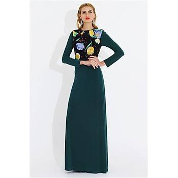 Nidya Moda Büyük Beden Üst Çiçekli Uzun Elbise-4046Y