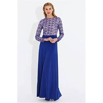 Nidya Moda Büyük Beden Üst Dantelli Elbise-4049SX