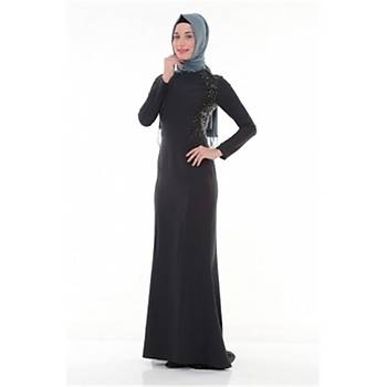 Nidya Moda Tesettür Pullu Payet Kombinli Lacivert Balýk Elbise-4048PL