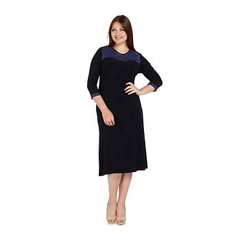 Nidya Moda Büyük Beden Dalga Tül Elbise-4078BL