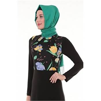 Nidya Moda Tesettür Pilili Bahar Kombin Siyah Elbise-4046S