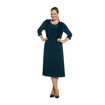 Nidya Moda Büyük Beden Þerit Kombinli Elbise-4054Y
