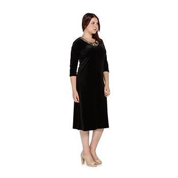Nidya Moda Büyük Beden Gold Çiçek Yaka Kadife Elbise-4075S