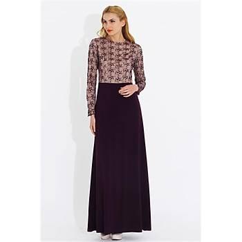 Nidya Moda Büyük Beden Üst Dantelli Elbise-4049M