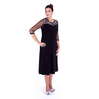 Nidya Moda Tül Kol Gümüþ Pullu Dantel Kombin Siyah Sandy Abiye Elbise-4119S
