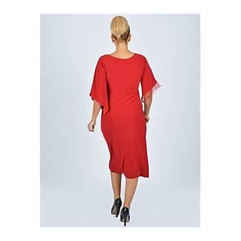 Nidya Moda Büyük Beden Tül Kombinli Elbise-4034K