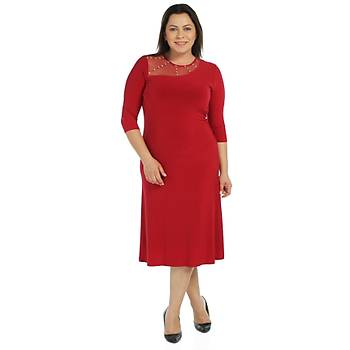 Nidya Moda Büyük Beden Roba Tül Taþlý Elbise-4089K